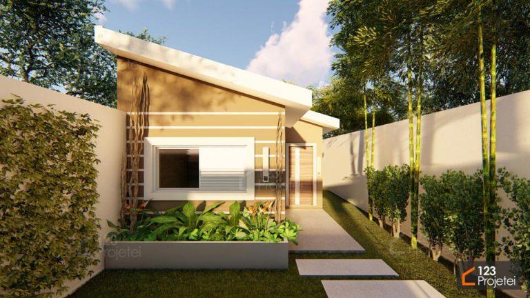 Casa geminada para terrenos compactos e com dois quartos é na 123Projetei