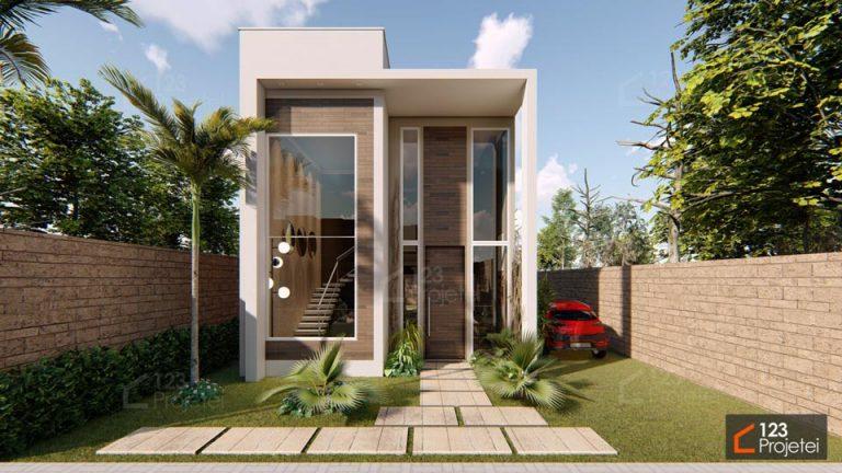 Pé direito duplo e escada plissada transformam o visual de projetos para terrenos compactos