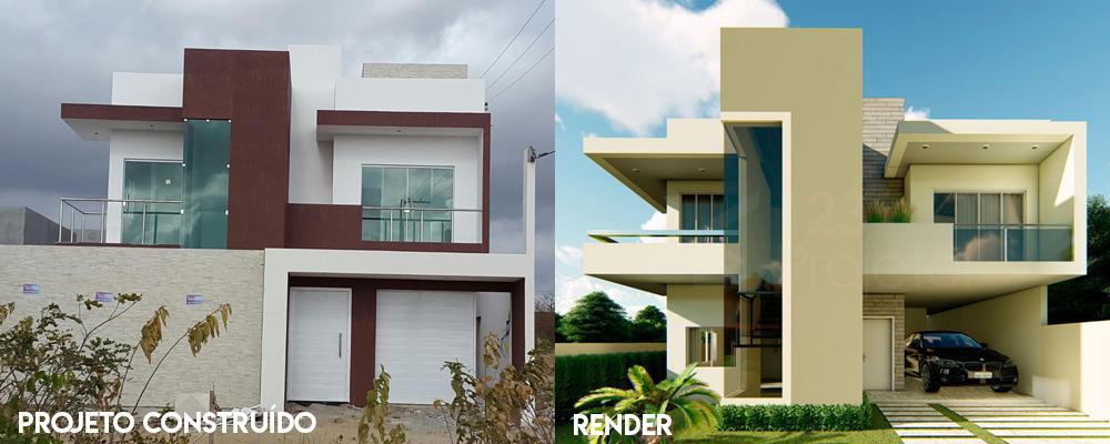 Construção de casas projetadas pela 123Projetei!