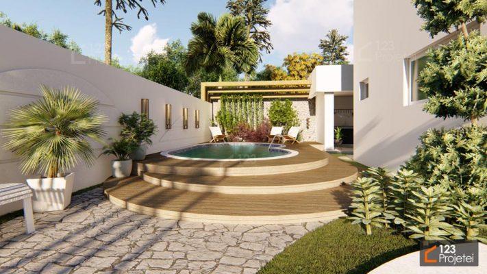 piscina em casa com deck